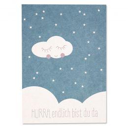 Postkarte Hurra Blau