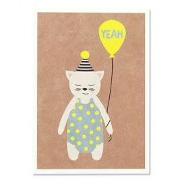 Postkarte Katze mit Hütchen