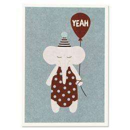 Postkarte Elefant mit Hütchen