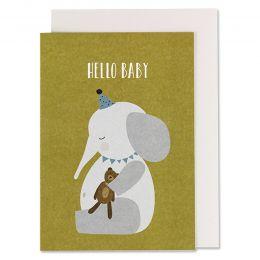 Klappkarte Elefant mit Teddy