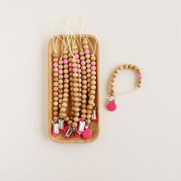 Schnullerkette Holz mit Silikonperle Pink
