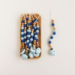 Schnullerkette Häkelperlen Marineblau