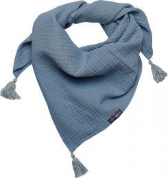 Halstuch Musselin mit Quaste Größe M Indigo blau / grau