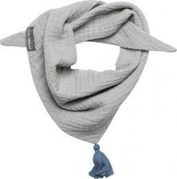 Halstuch Musselin mit Quaste Größe S Grau / Blau