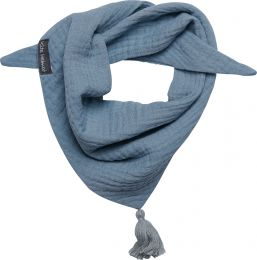 Halstuch Musselin mit Quaste Größe S Indigo blau / grau